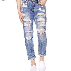 Boyfriend Distressed Acid Wash Jeans